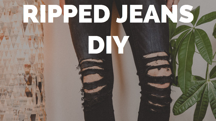 Super Ripped Jeans DIY - EINFACH SELBER MACHEN | Jeans Upcycling &WU_56